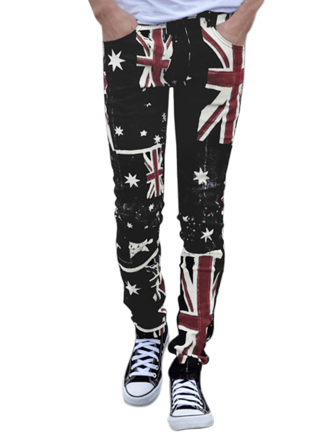 Men Union Jack Flag Stars Pattern Button Fastening Casual Pants Black Red W28