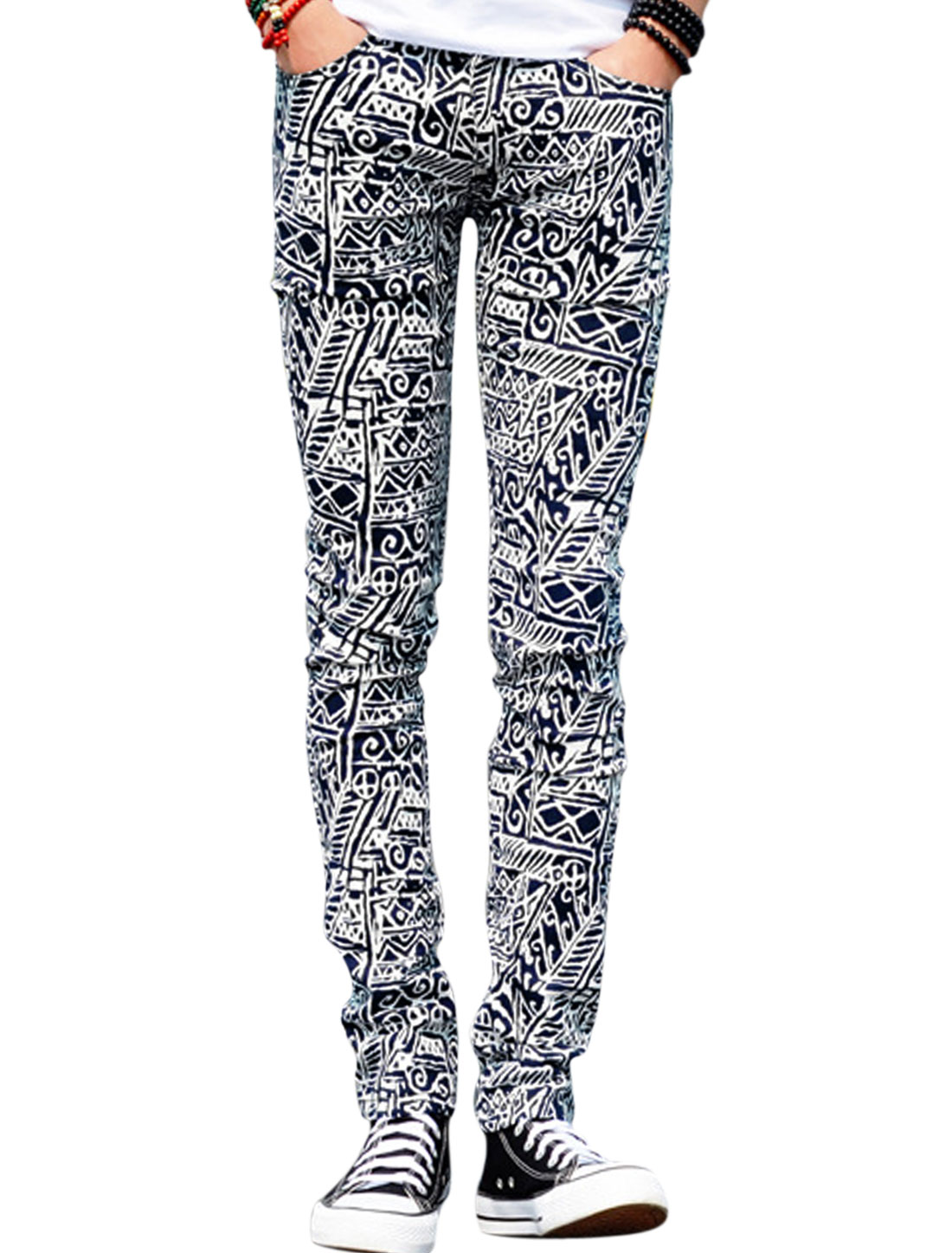 Men Novelty Prints Zip Fly Hip Pockets Back Casual Pants Blacks Whites W28