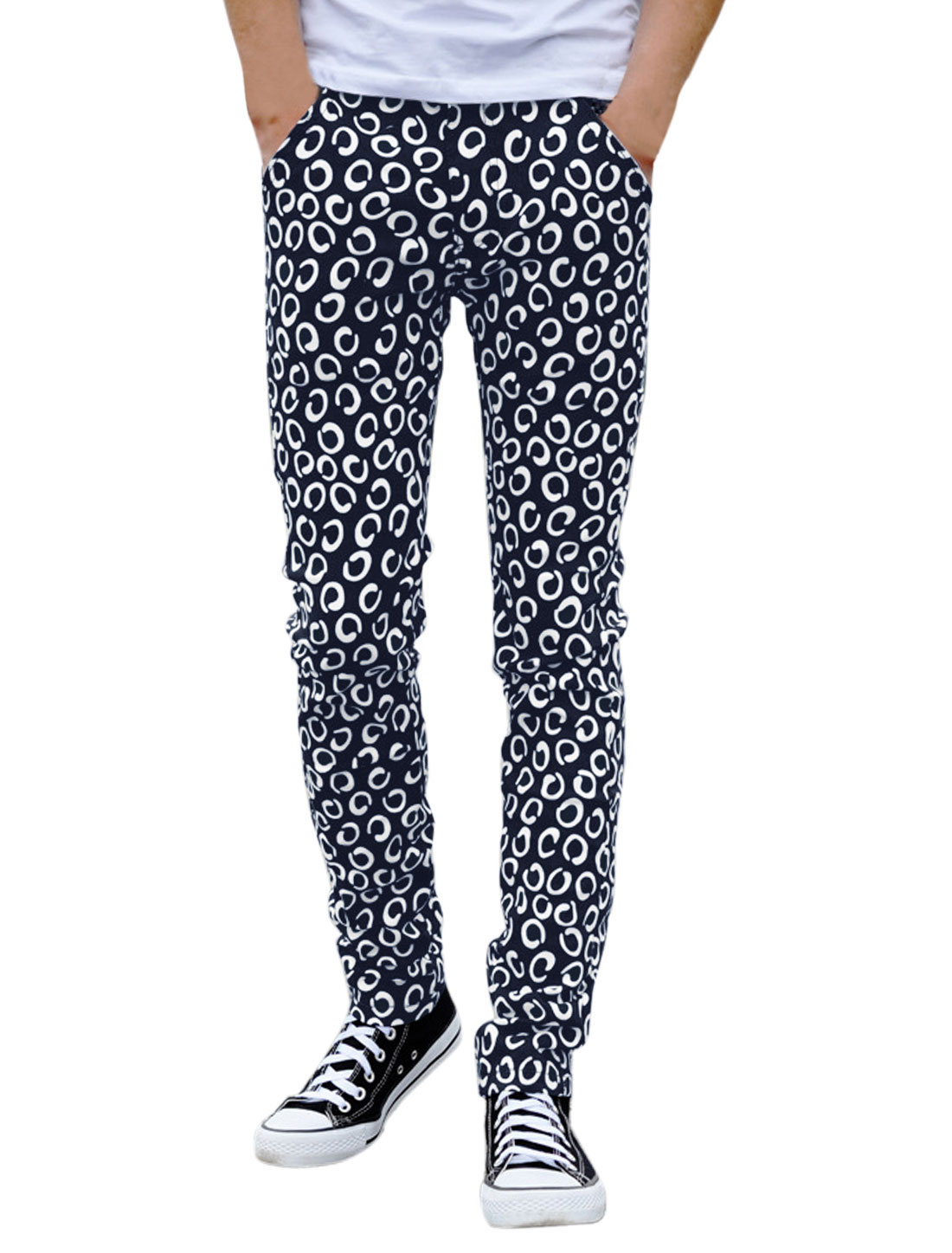 Men Novelty Prints Button Fastening Casual Pants Navy Blue W28