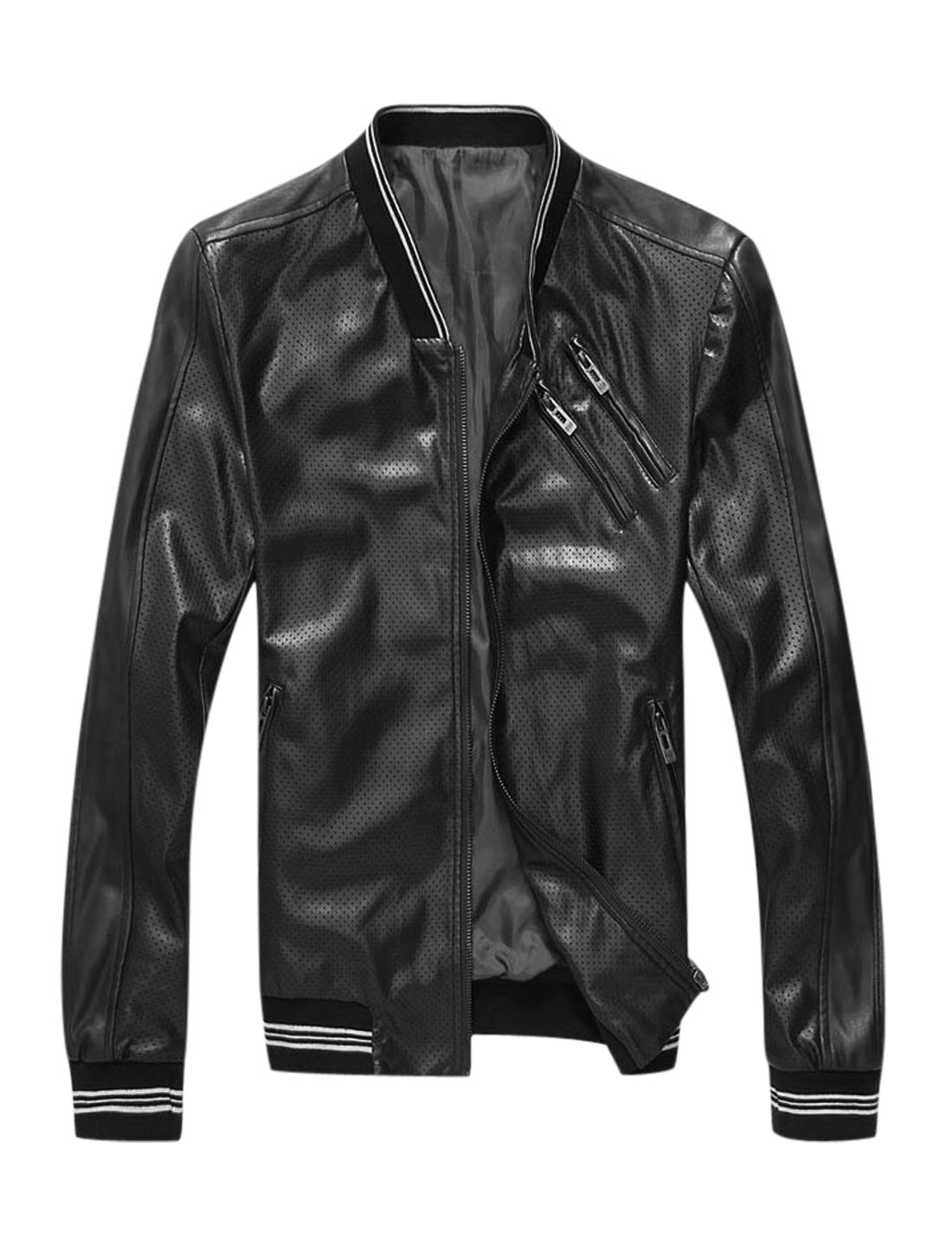 Man Ribbed Trim Hollow Out Imitation Leather Casual Jacket Black M