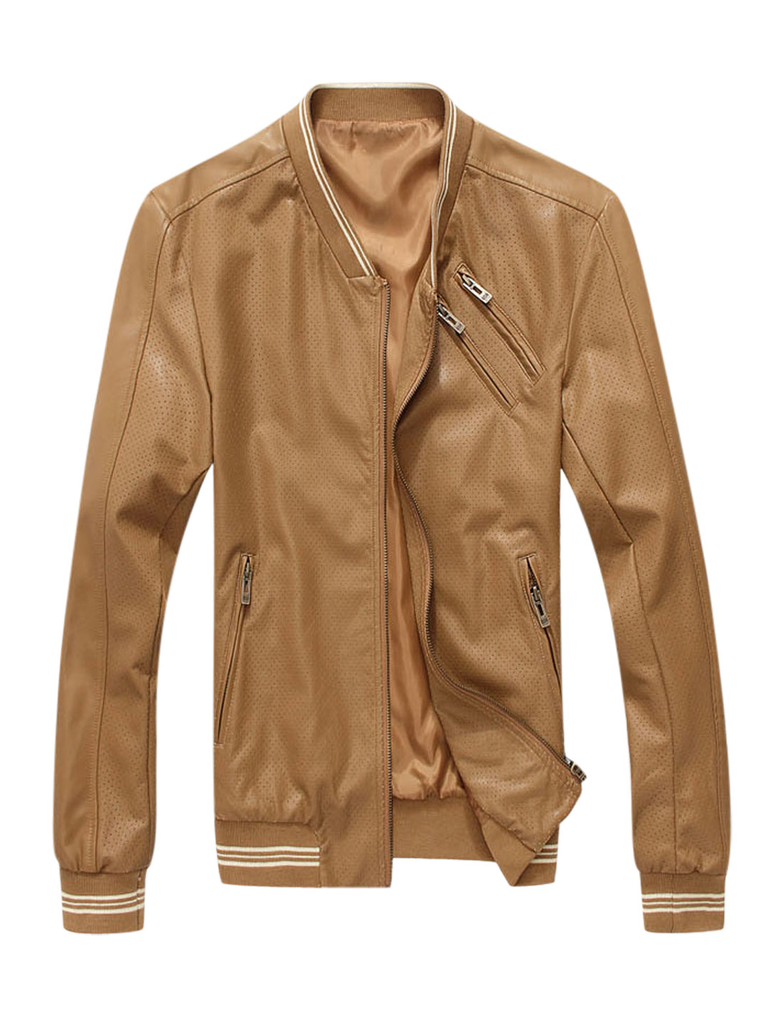 Men Stand Collar Ribbed Trim Hollow Out Imitation Leather Jacket Camel M