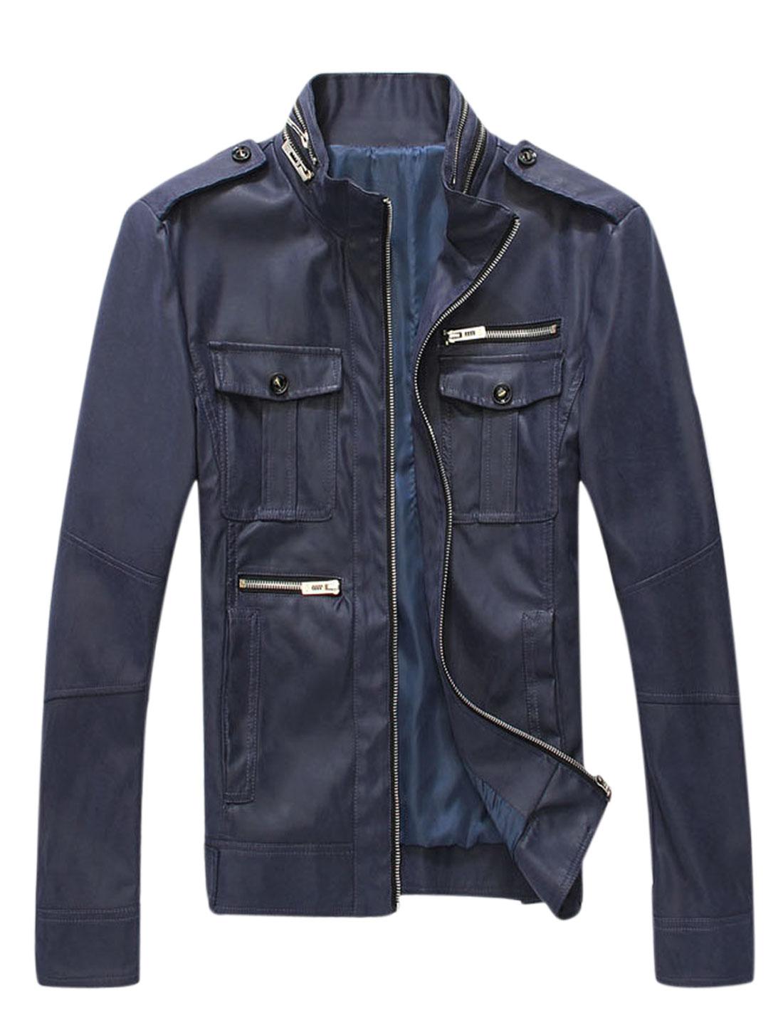 Men Two Flap Chest Pockets Zipper Decor PU Leather Jacket Dark Blue M
