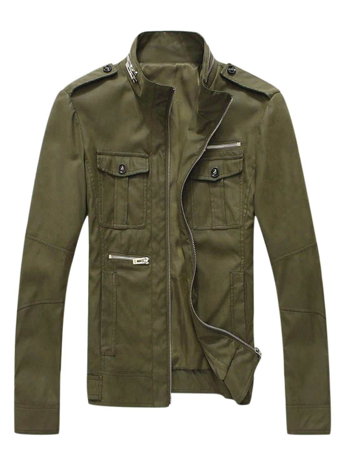 Men Button-tab Epaulets Zipper Embellished PU Leather Jacket Army Green M