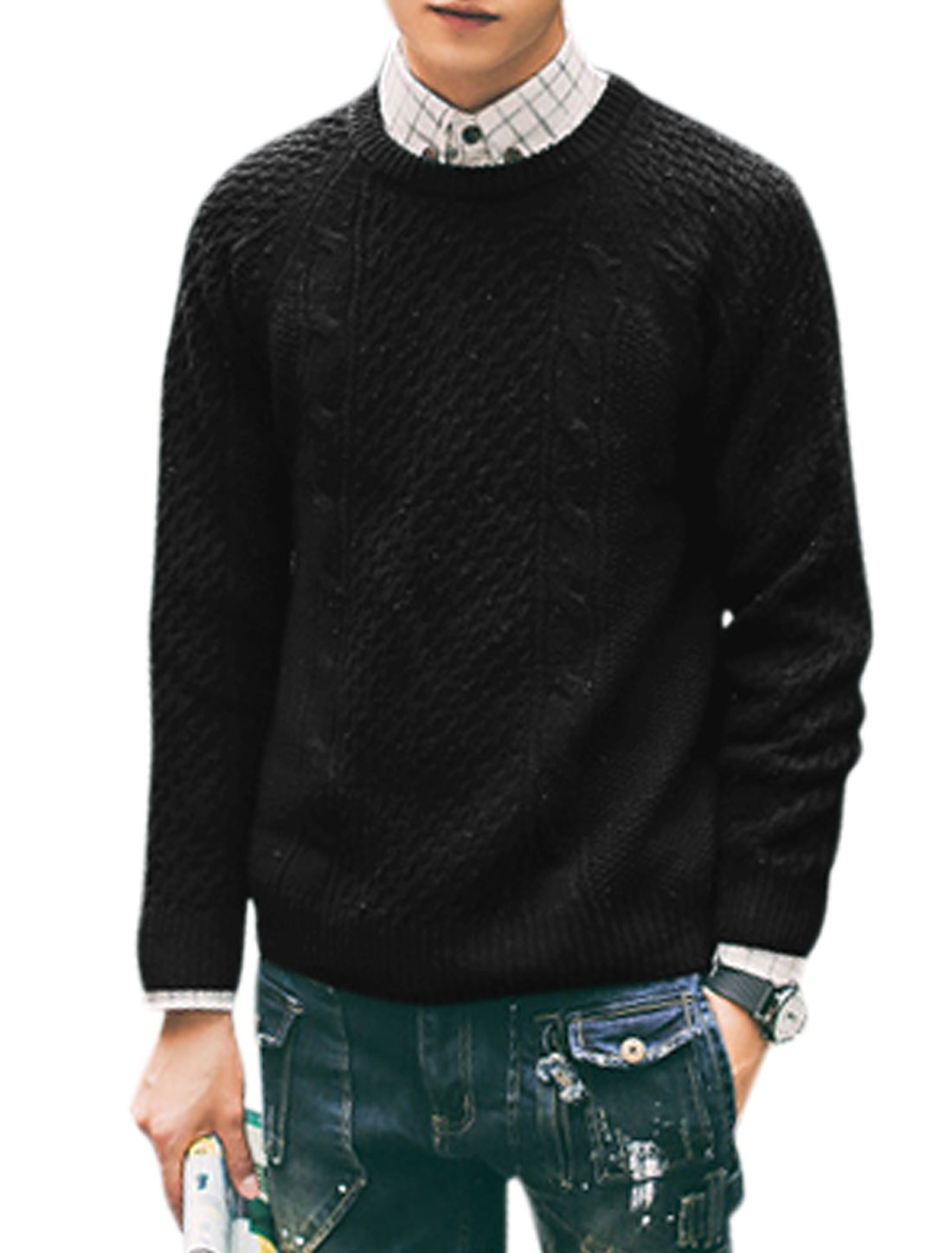 Men Slipover Long Sleeve Crew Neck Ribbed Sweaters Black M