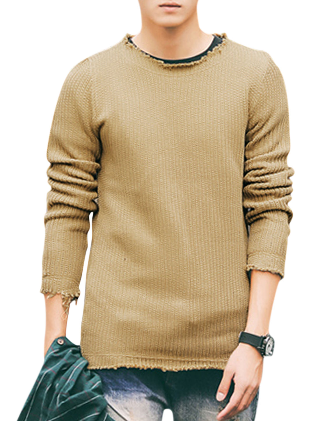 Men Pullover Long Sleeve Destroyed Trim Casual Knit Shirt Khaki M