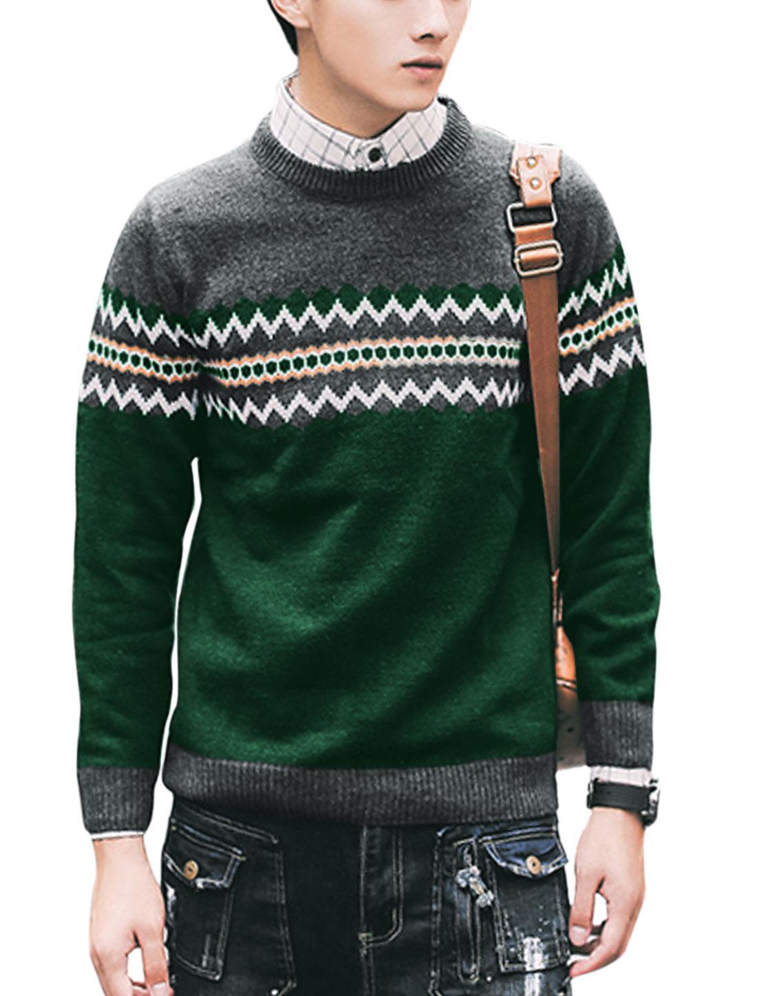 Men Long Sleeve Round Neck Zigzag Knitted Shirt Dark Gray Green M