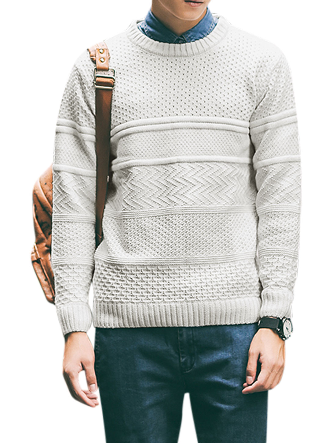 Men Pullover Long Sleeve Round Neck Knit Shirt White M