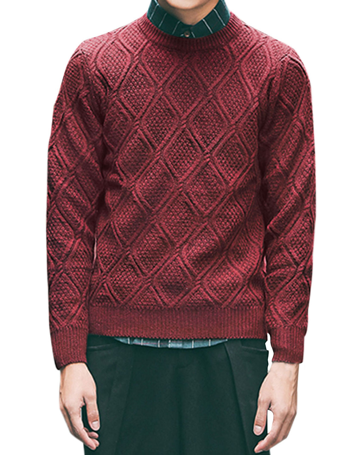 Men Pullover Long Sleeve Argyle Design Casual Sweaters Burgundy M
