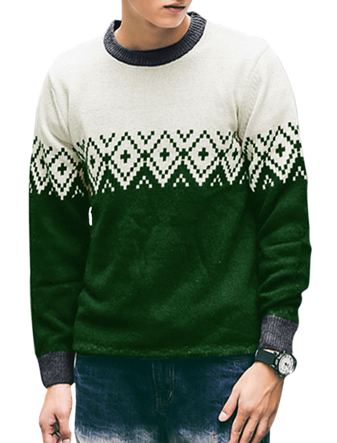 Men Round Neck Slim Fit Geometric Knit Shirt Off White Dusty Green M