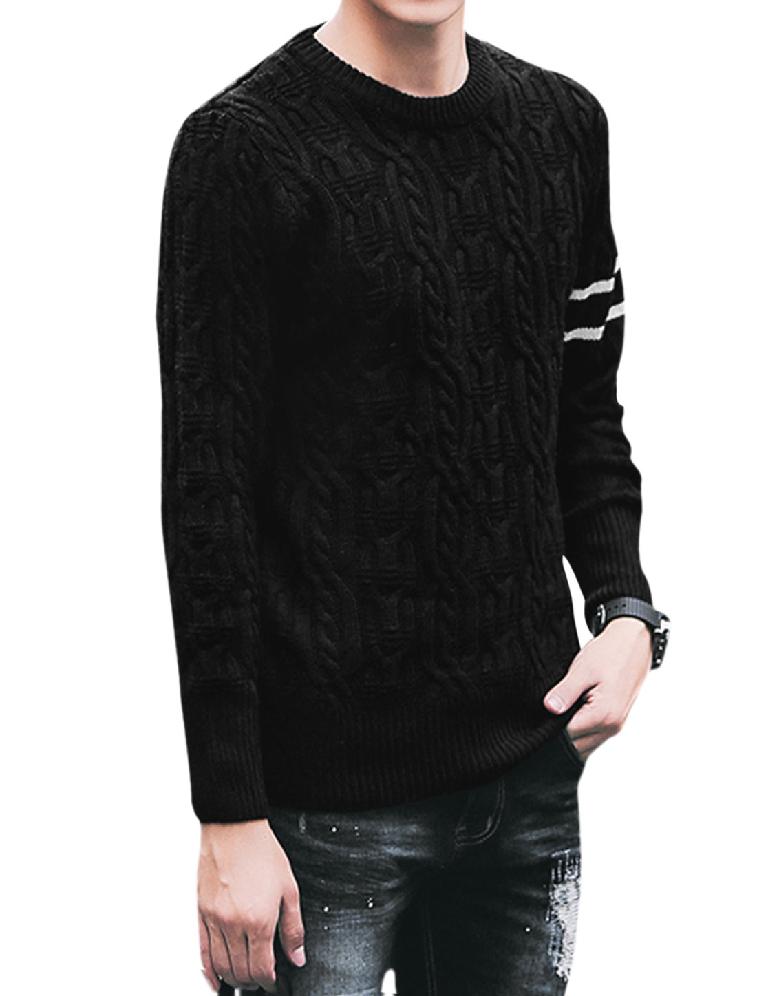Men Long Sleeve Stripes Detail Slim Fit Leisure Sweaters Black M