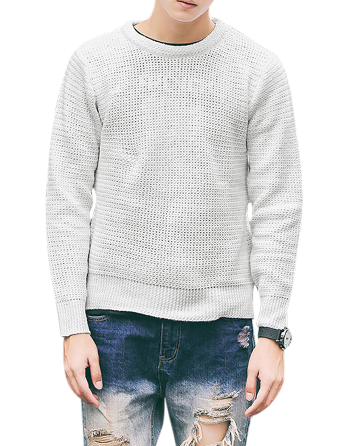 Men Long Sleeve Round Neck Zipper Sides Casual Sweater Whites M