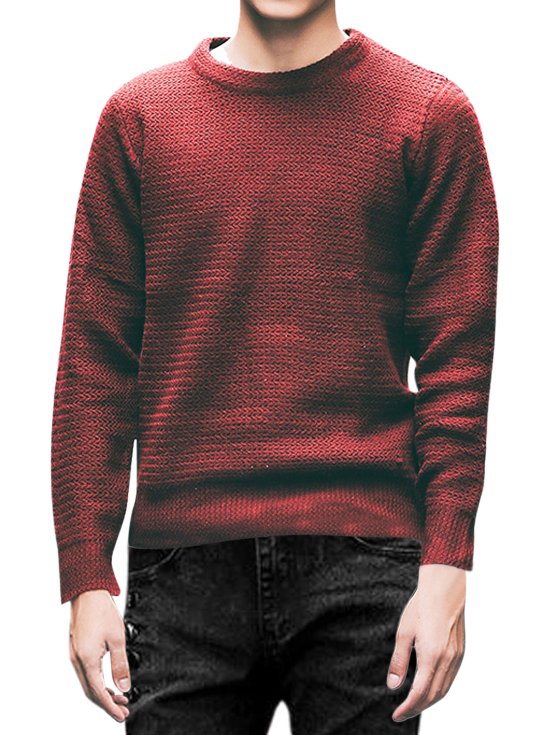 Men Long Sleeve Round Neck Slim Fit Zipper Sides Sweaters Burgundy M