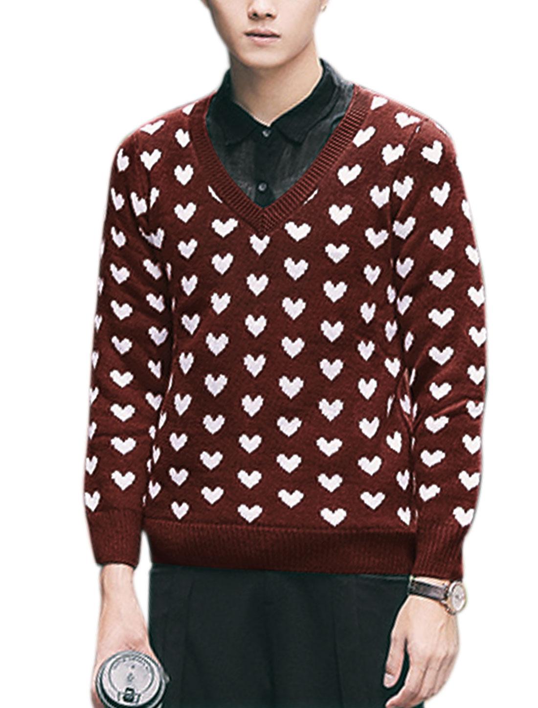 Men Pullover Long Sleeve V Neck Heart Print Casual Knitting Shirt Burgundy M