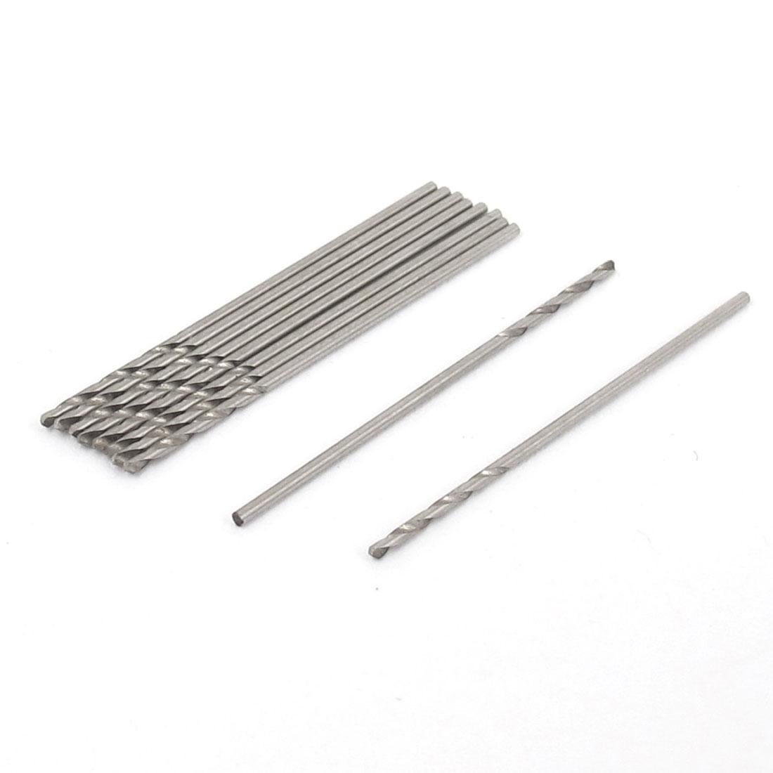 0.75mm Dia 35mm Length M2 HSS Straight Shank Drilling Drill Bit Silver Tone 10pcs