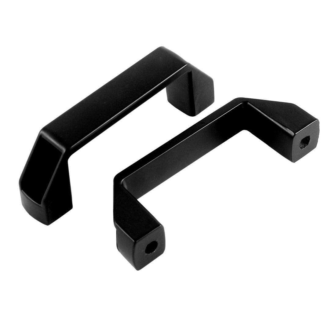 "Black Metal Rectangle Recessed Flush Pull Handle Drawer Cabinet Knob Grip 4.4"" 11cm Length 2pcs"