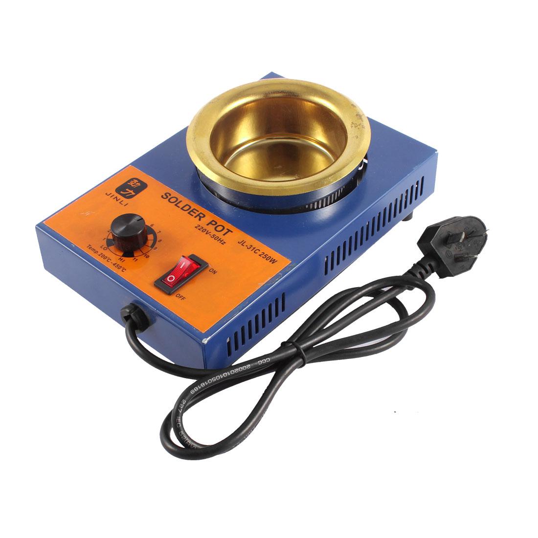 AU Plug AC 220V 250W Adjustable Temperature 80mm Dia Solder Pot Soldering Desoldering Bath w 600g Capacity