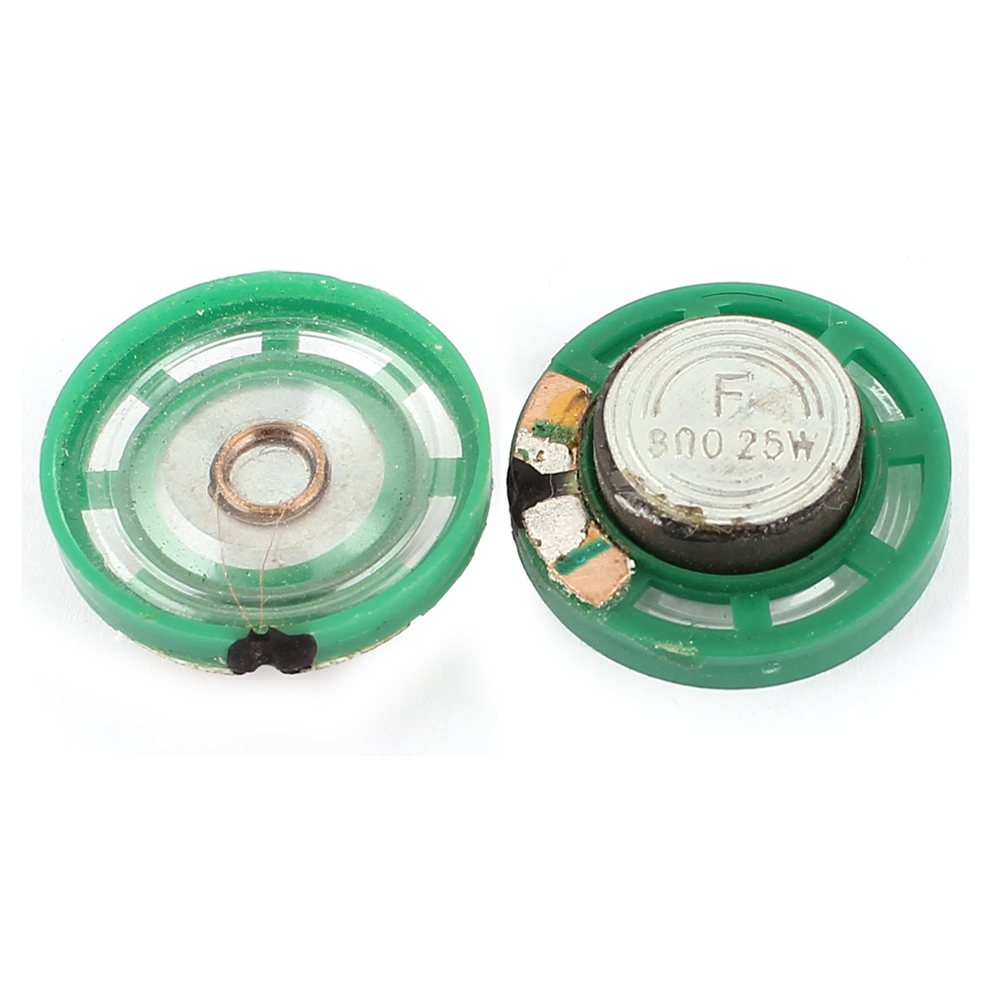 2Pcs 8 Ohm 0.25W 27mm Dia External Magnet Mini Loudspeaker Speaker Horn Green
