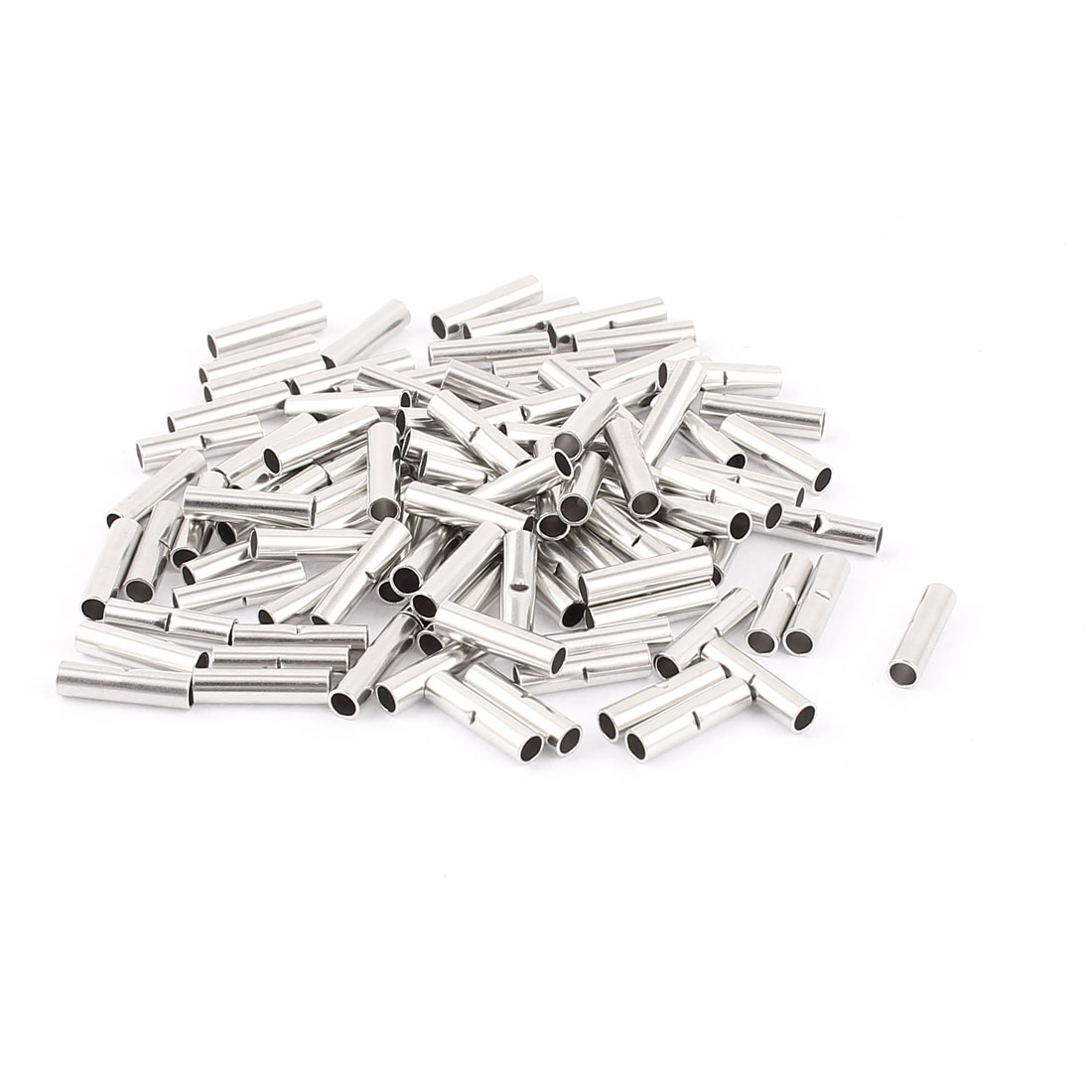 100Pcs BV-2 Uninsulated Butt Connectors Terminal for 16-14 A.W.G Wire