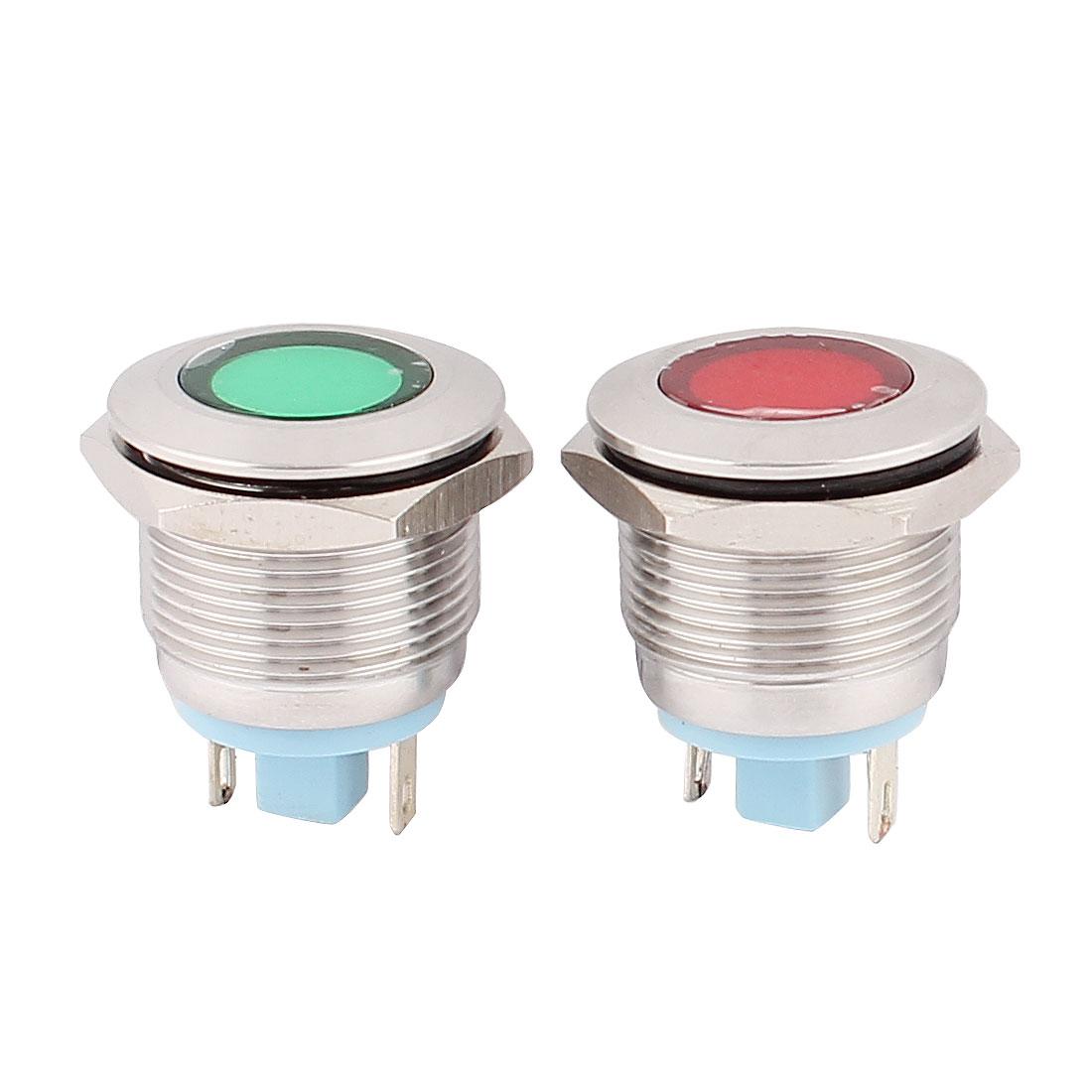 2Pcs 19mm Mounted Thread DC 12V Red Green LED Indicator Light Set