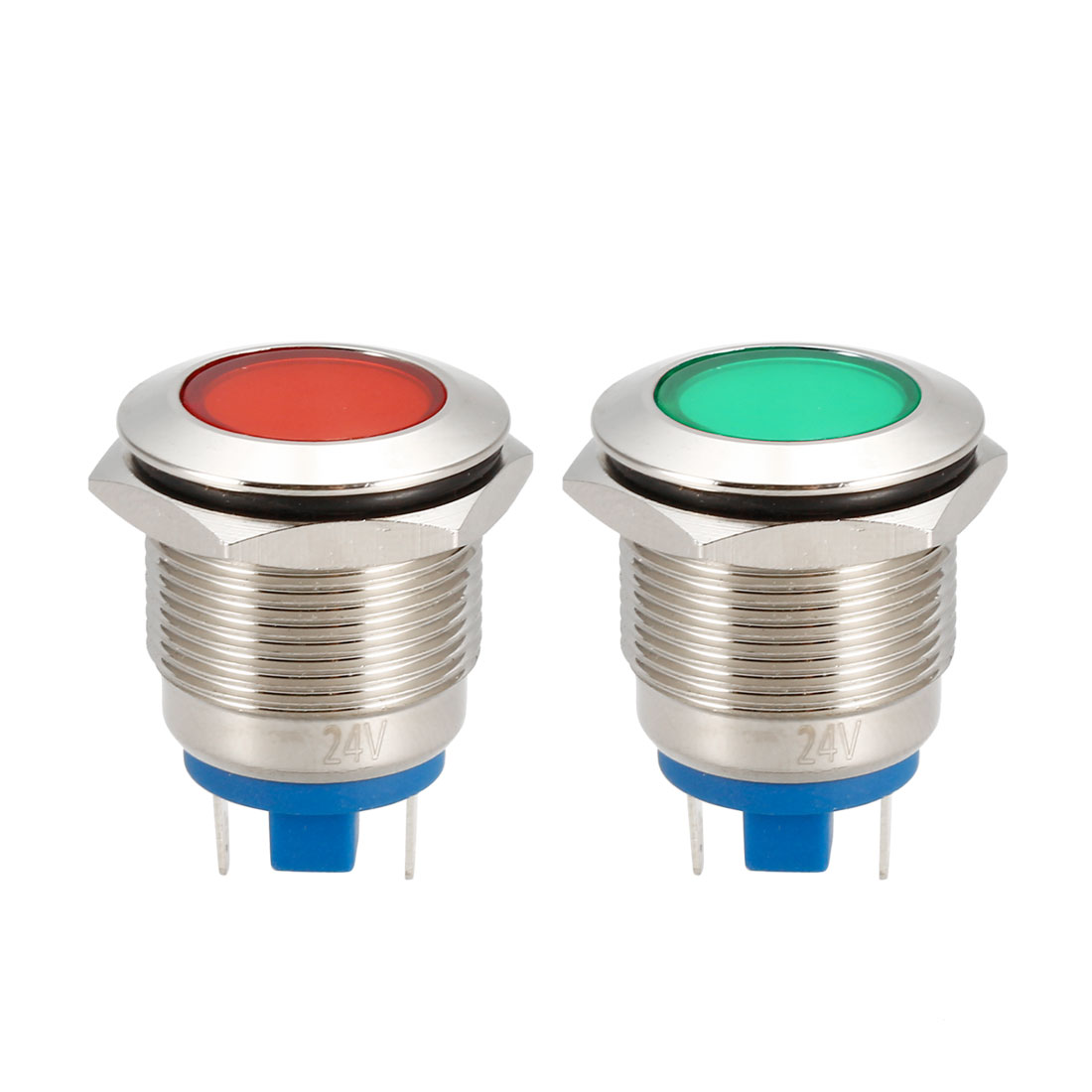 2Pcs 19mm Mounted Thread DC 24V Red Green LED Indicator Light Set