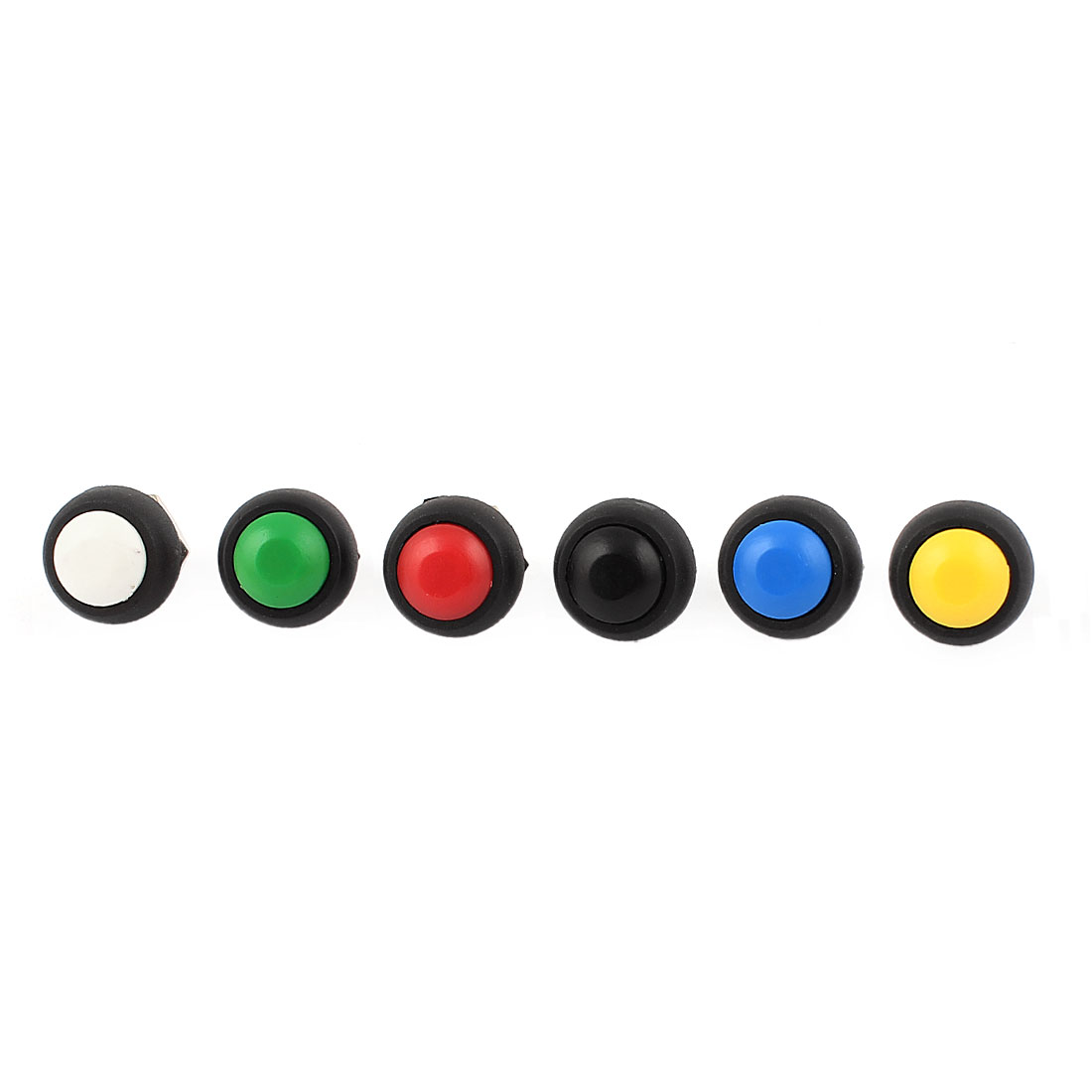 6Pcs 12mm Mounted Thread SPST Red Green Yellow Blue Black White Head Momentary Push Button Switch Set