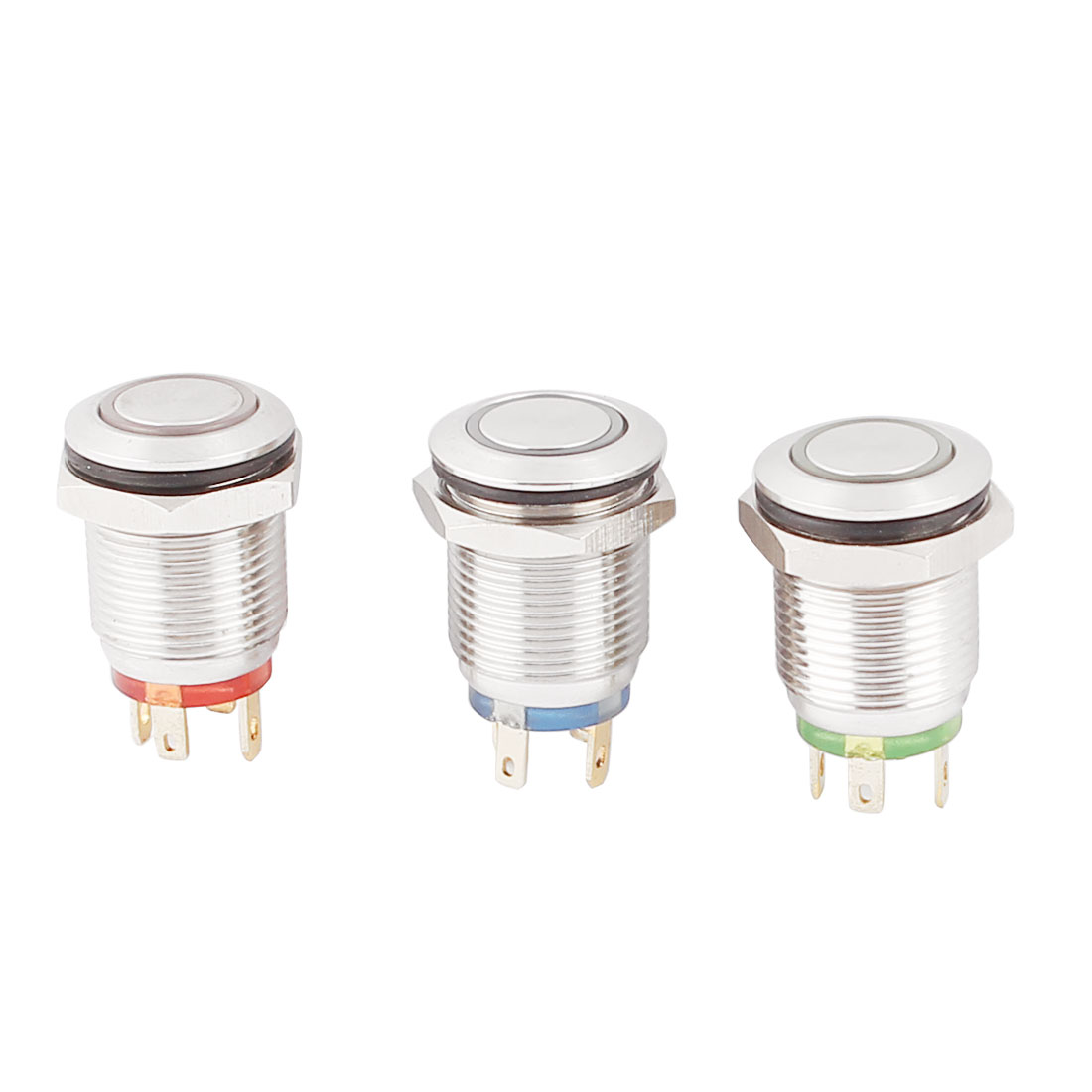 3Pcs Red Green Blue LED Light 12mm Flat Head Momentary Push Button Switch