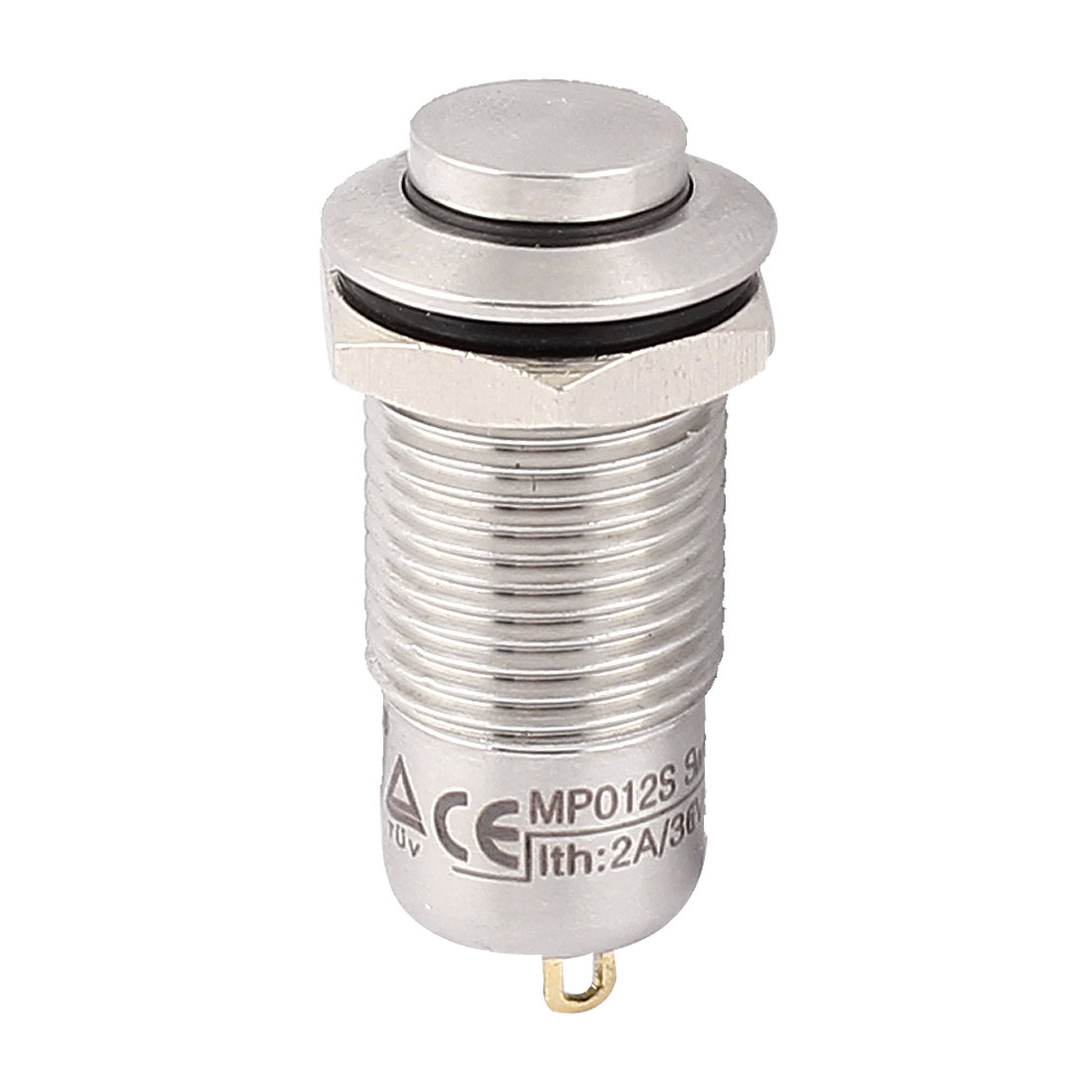 12mm Mounted Thread 2 Terminals SPST High Head Latching Push Button Switch