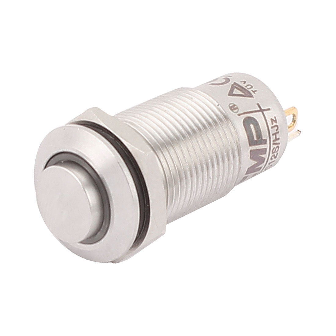 DC 2V Blue LED Lamp 12mm Mounted Thread 4 Pins SPST High Head Latching Push Button Switch