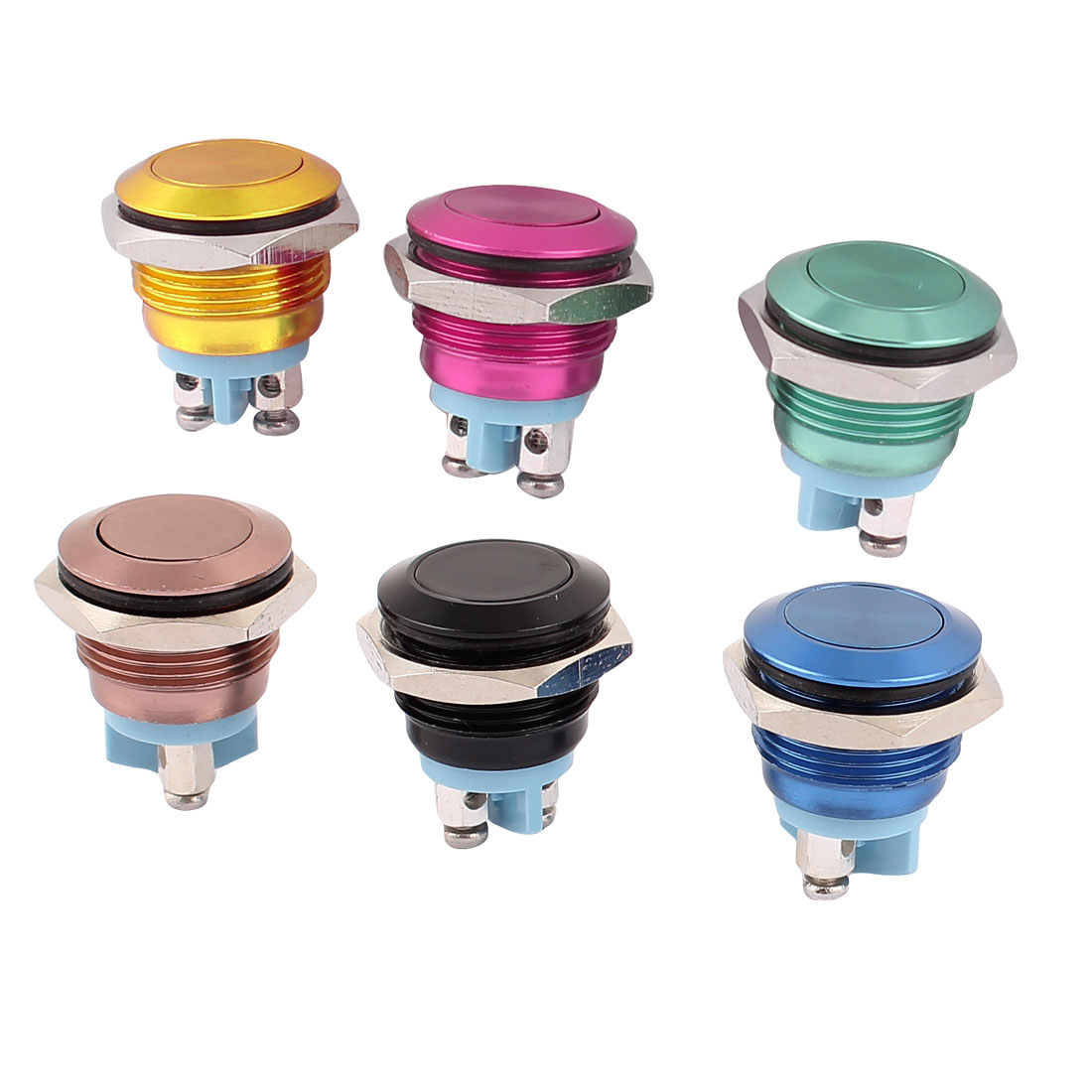 6Pcs AC 250V Black Brown Blue Red Green Yellow Flat Head SPST Momentary Push Button Switch
