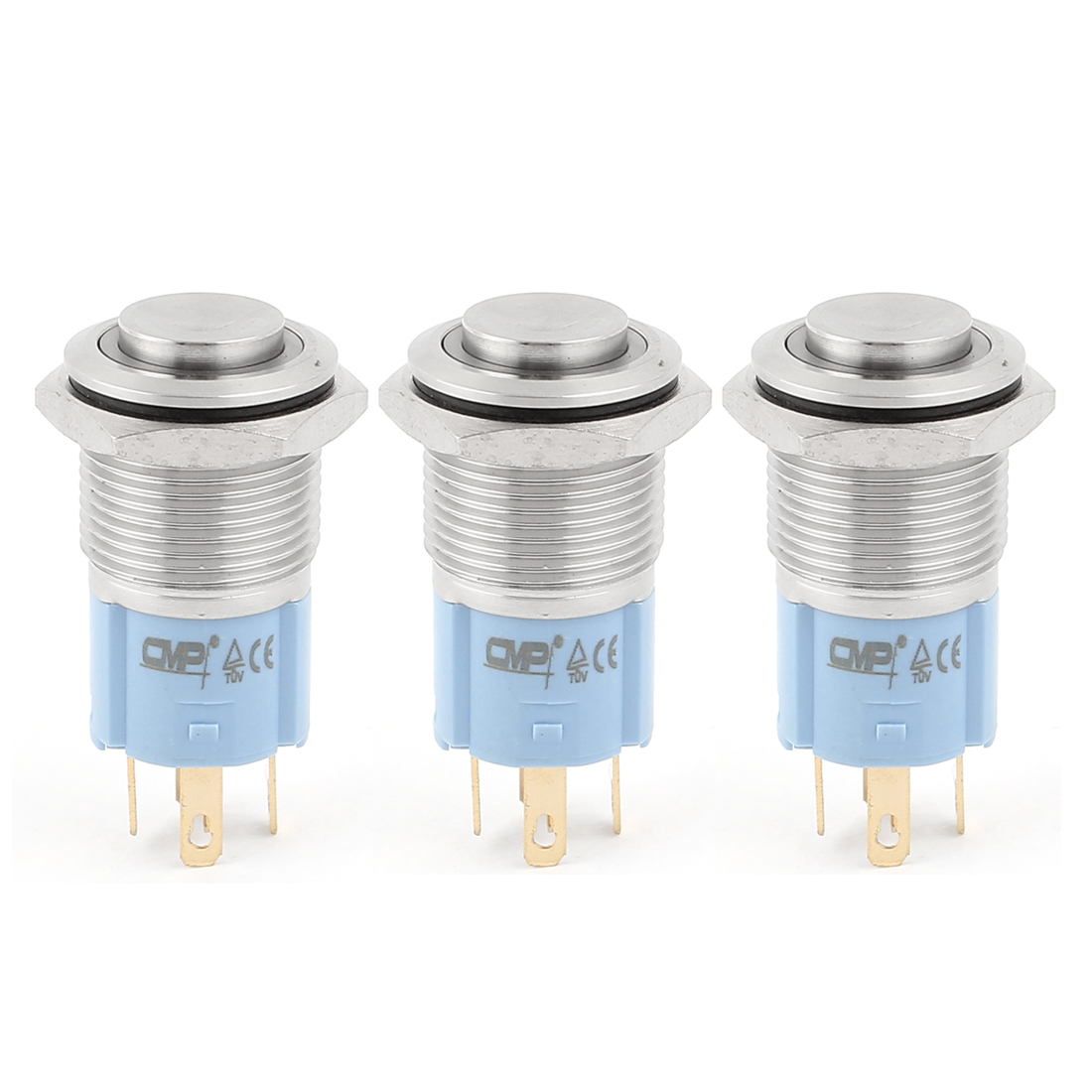 3Pcs DC 24V Red Green Blue LED Light 16mm Mounted Thread 5Pins SPDT NO/NC High Head Momentary Push Button Switch