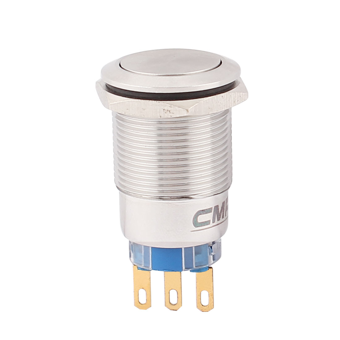 19mm Mounted Thread 3 Pins SPDT 16mm Flat Head Momentary Push Button Switch