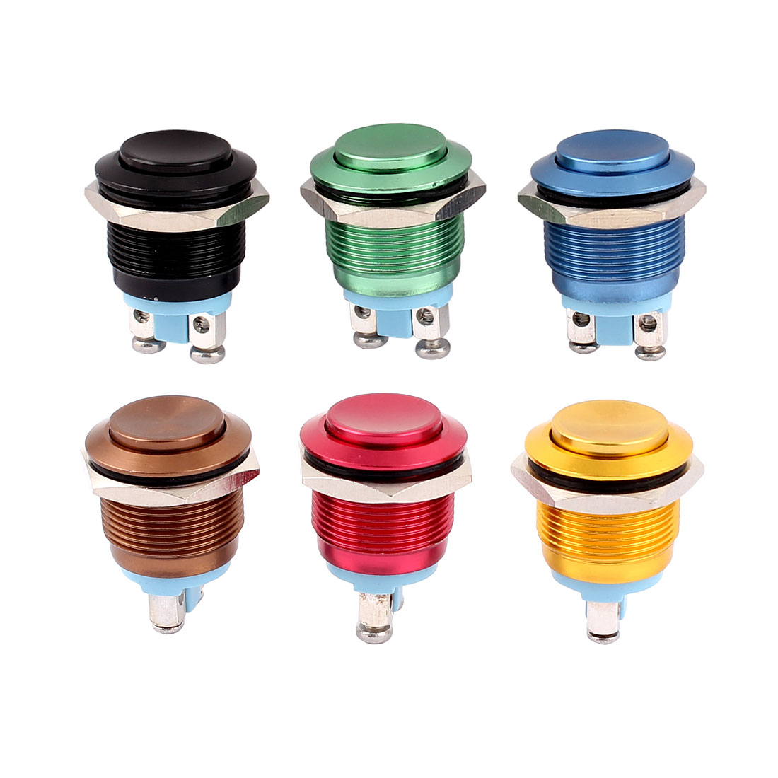 6Pcs AC 220V Black Brown Blue Red Green Yellow SPST Momentary Push Button Switch