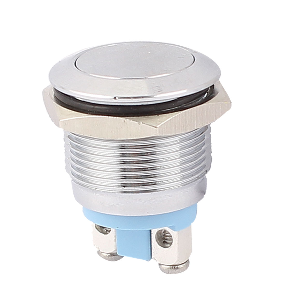 "0.75"" Mounted Thread 2 Pin SPST Flat Head Momentary Push Button Switch"