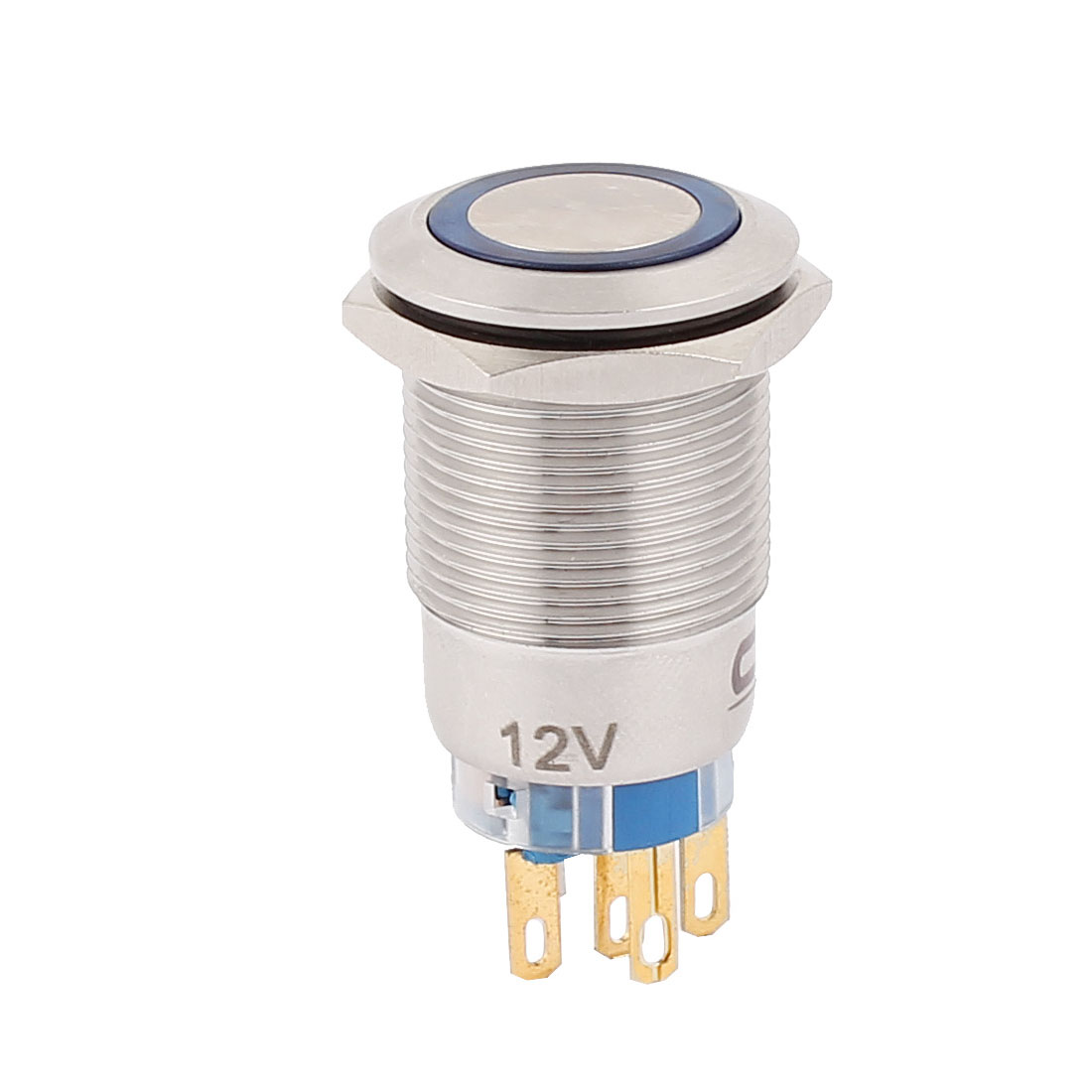 DC 12V 16mm Blue LED Light 19mm Mounted Thread 5Pins SPDT NO/NC Flat Head Latching Push Button Switch