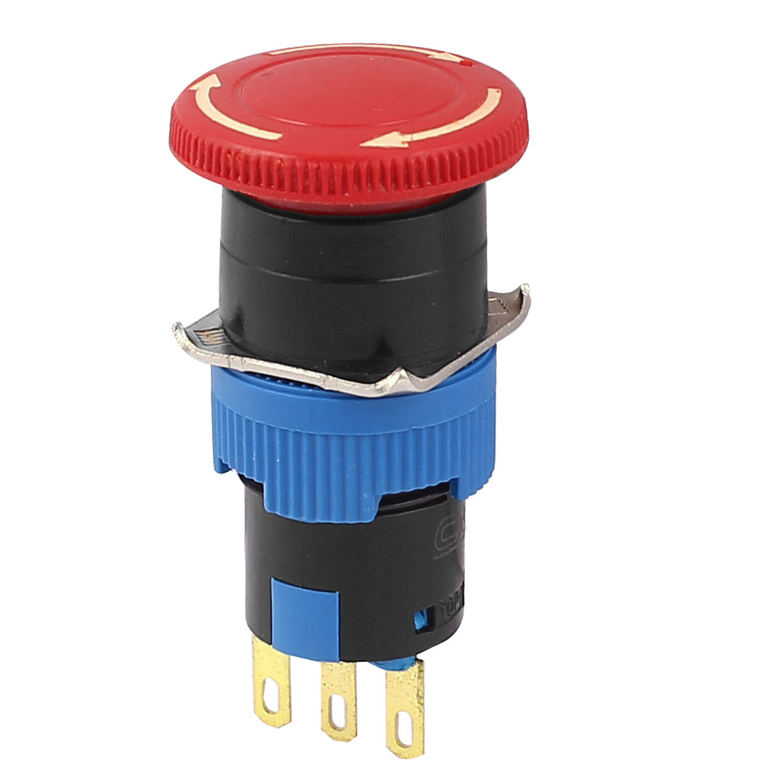 15.5mm 3 Terminals SPDT NO/NC Red Mushroom Head Emergency Stop Push Button Switch