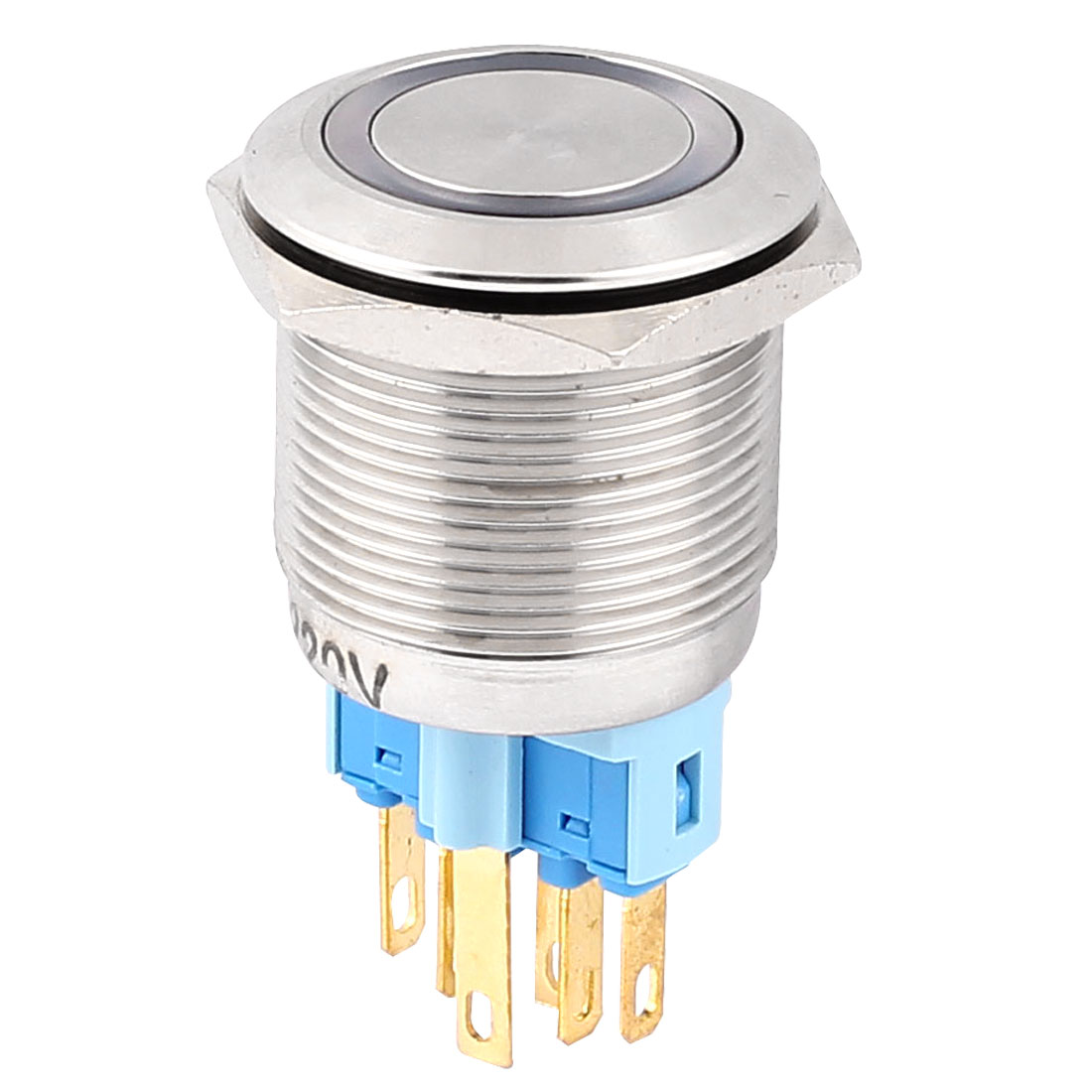 AC 220V 18mm Blue LED Light 22mm Mounted Thread 6 Pins DPST NO/NC Latching Push Button Switch