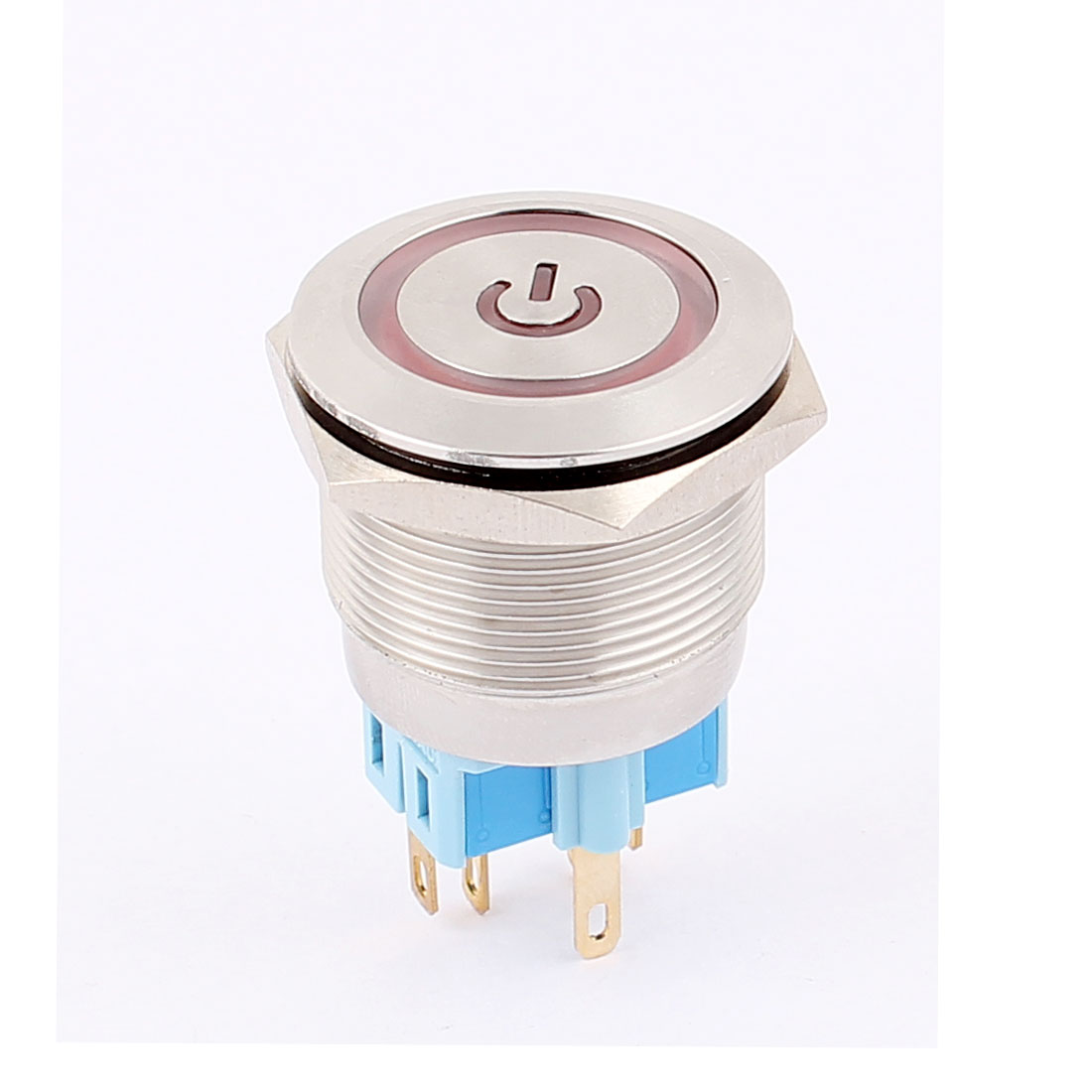 DC 24V 20mm Red LED Light 25mm Mounted Thread 6 Pins DPST ON/OFF Momentary Push Button Switch
