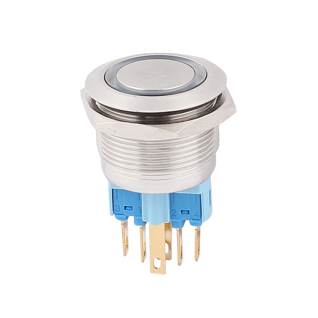 AC 220V 18mm Blue LED Light 22mm Mounted Thread 6 Pins DPST NO/NC Momentary Push Button Switch