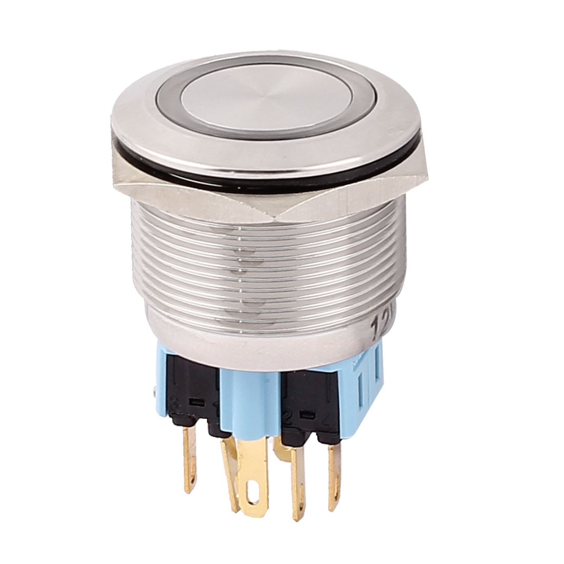 DC 12V White LED Light 25mm Mounted Thread 6 Pins DPST NO/NC Momentary Push Button Switch