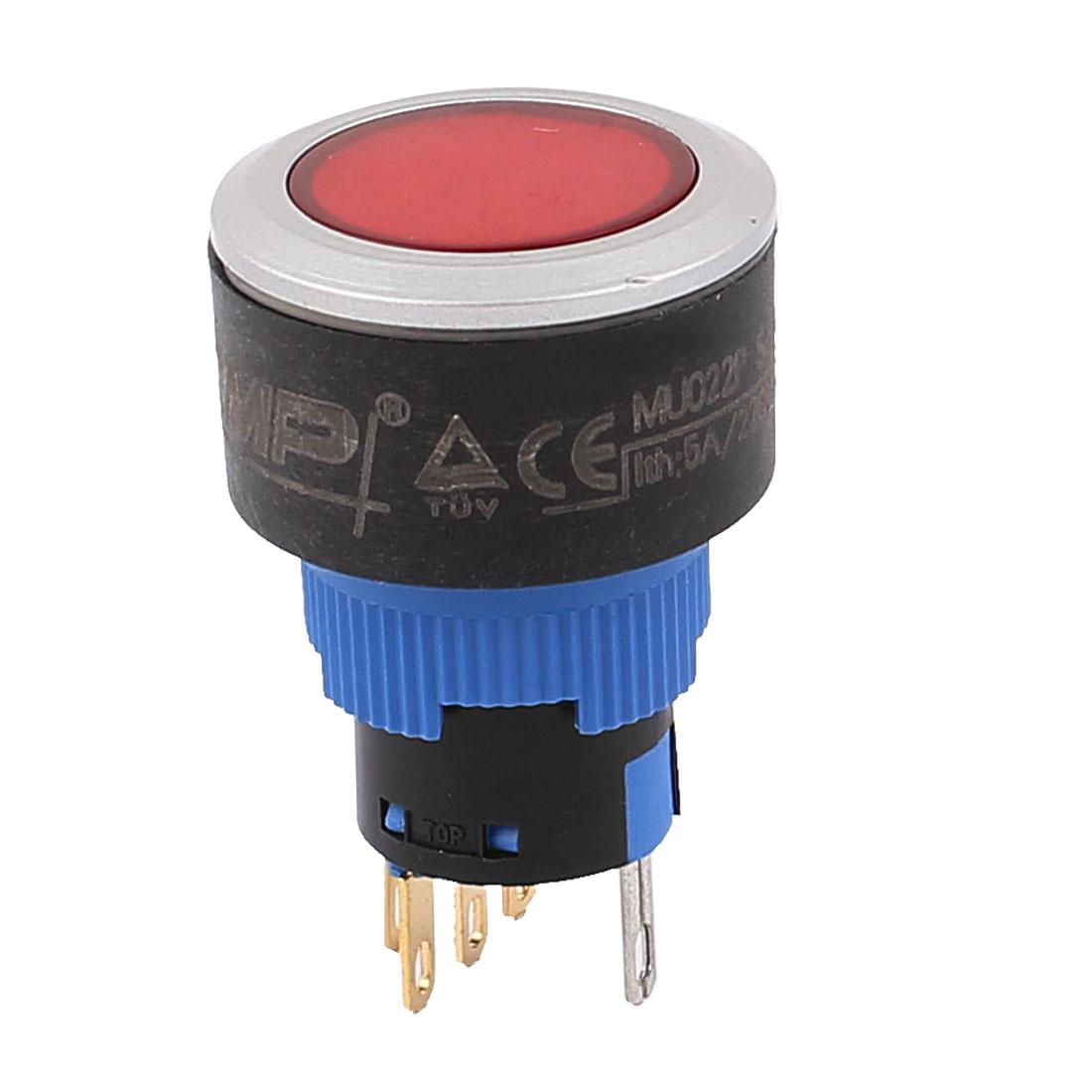 15.5mm DC 12V Red LED Light 5 Pin SPDT Momentary Push Button Switch