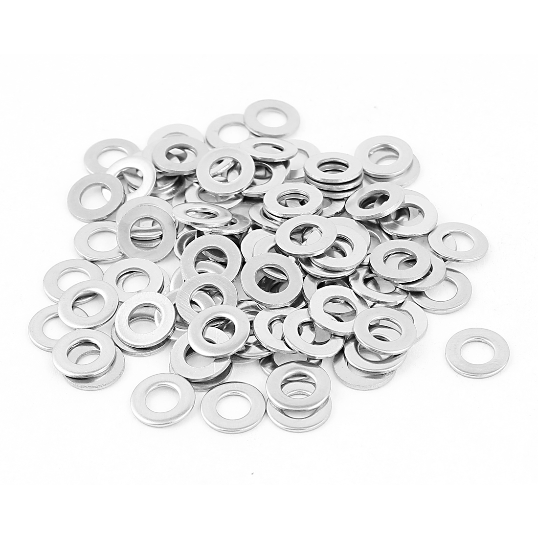 100Pcs M5 x 10mm x 1mm 304 Stainless Steel Flat Washer for Screw Bolt