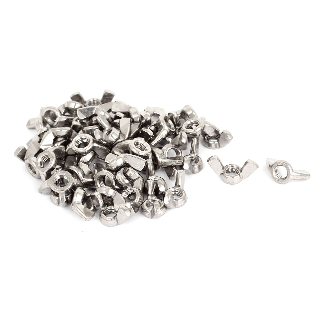 M10 Female Thread Stainless Steel Wingnut Butterfly Wing Nuts Silver Tone 50pcs