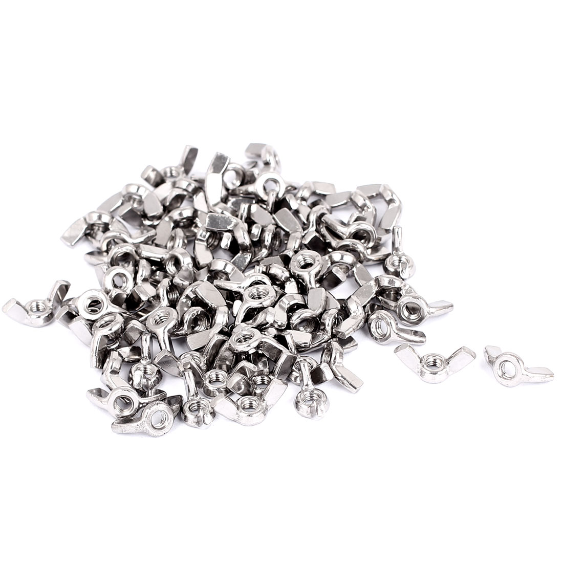 M4 Female Thread Stainless Steel Wingnut Butterfly Wing Nuts Silver Tone 100pcs
