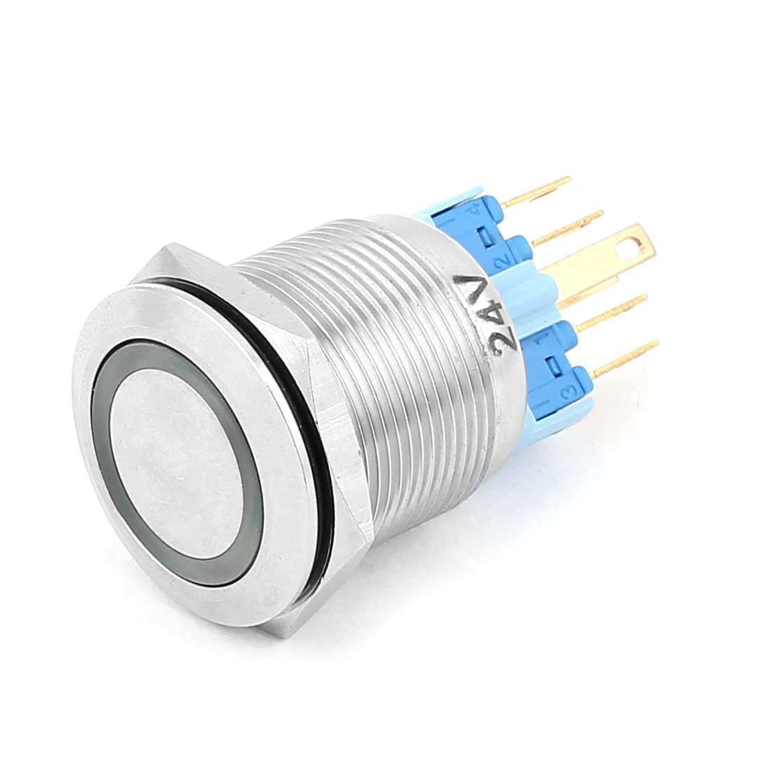 DC 24V 18mm Green LED Light 22mm Mounted Thread 6 Pins DPST NO/NC Latching Push Button Switch