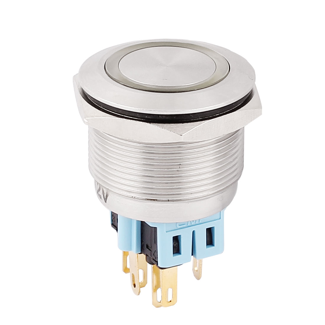 DC 12V 20mm Yellow LED Light 25mm Mounted Thread 6 Pins DPST NO/NC Momentary Push Button Switch