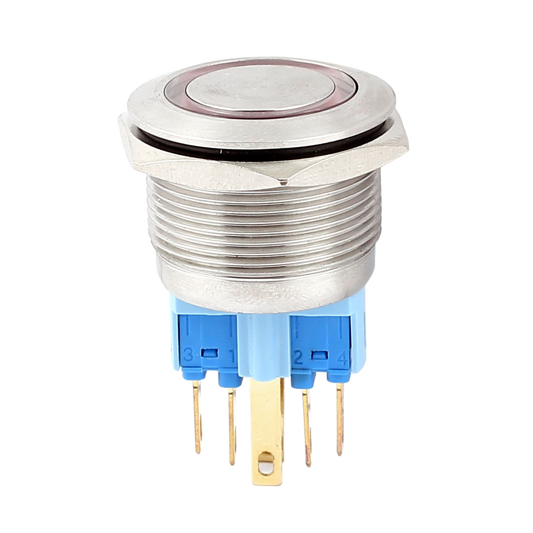 DC 12V 18mm Red LED Light 22mm Mounted Thread 6 Pins DPST NO/NC Momentary Push Button Switch