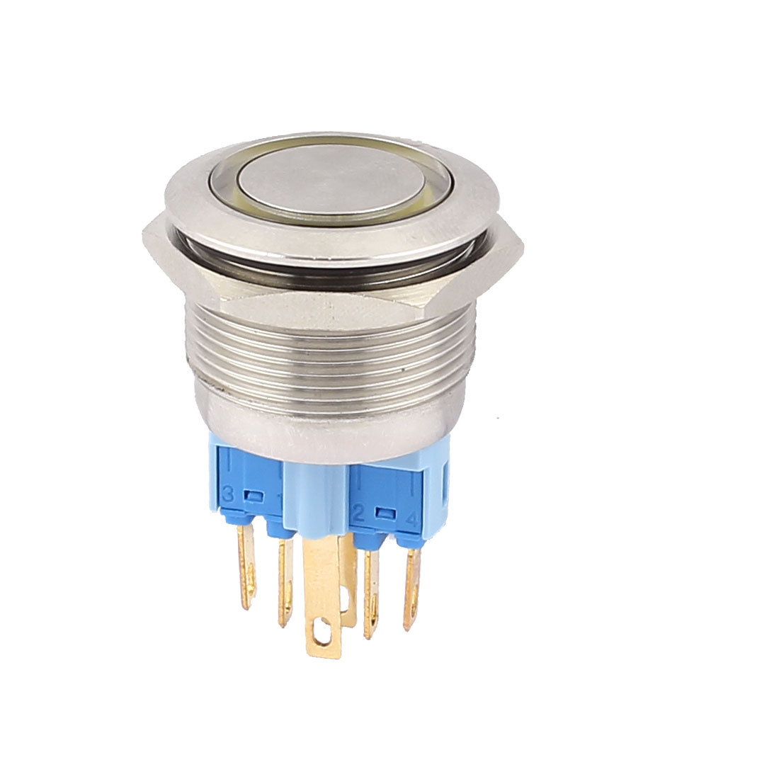 DC 24V 18mm Yellow LED Light 22mm Mounted Thread 6 Pins DPST NO/NC Momentary Push Button Switch