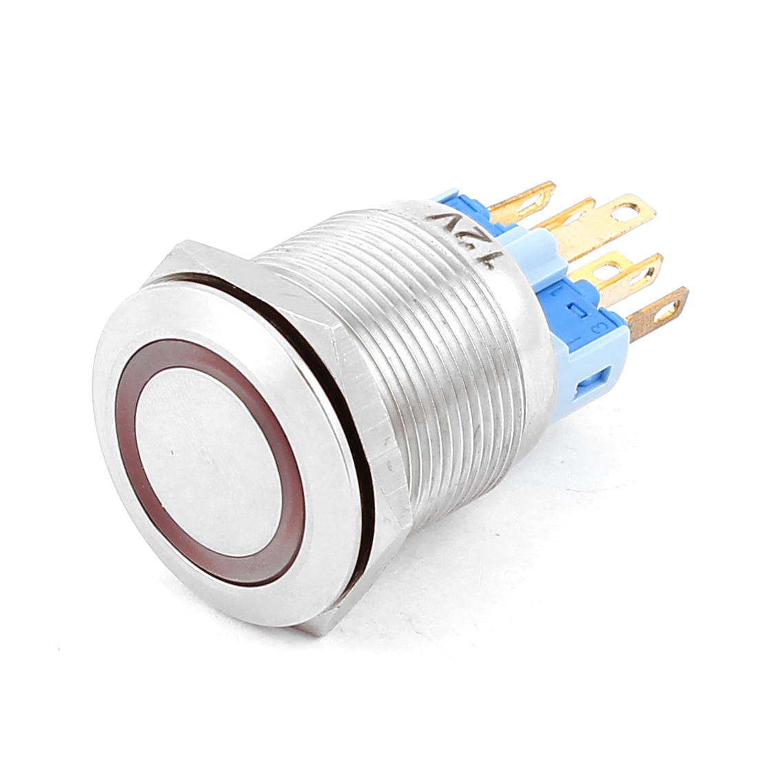 DC 12V Red LED Light 22mm Mounted Thread 6 Pins DPST NO/NC Latching Push Button Switch