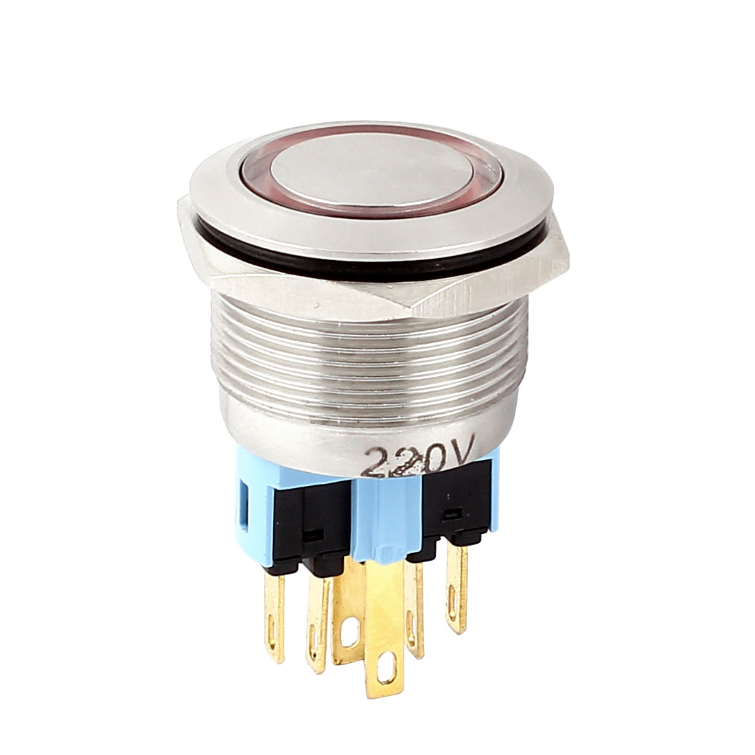 AC 220V 18mm Red LED Light 22mm Mounted Thread 6 Pins DPST NO/NC Momentary Push Button Switch