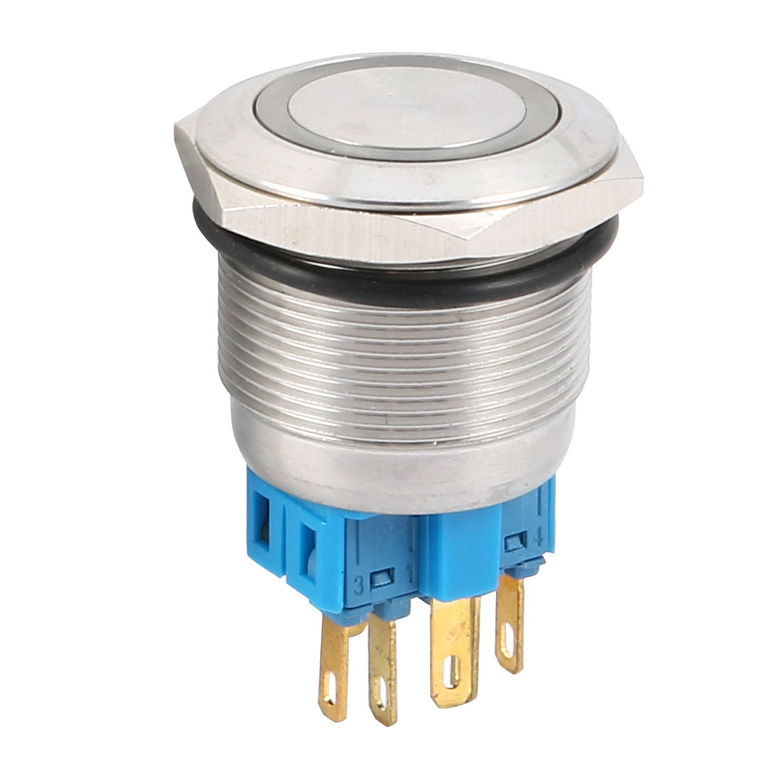 DC 12V 20mm Blue LED Light 25mm Mounted Thread 6 Pins DPST NO/NC Latching Push Button Switch